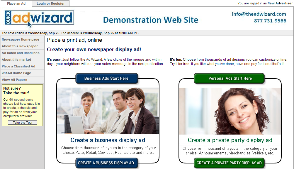 Quick Ad \Wizard landing page image